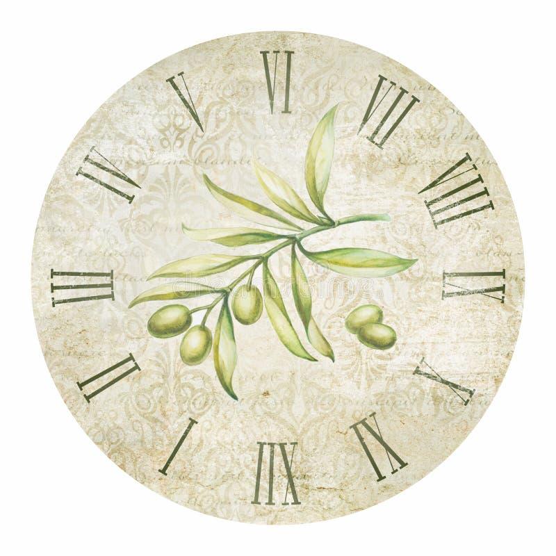 Olivgrüne Uhr lizenzfreie abbildung