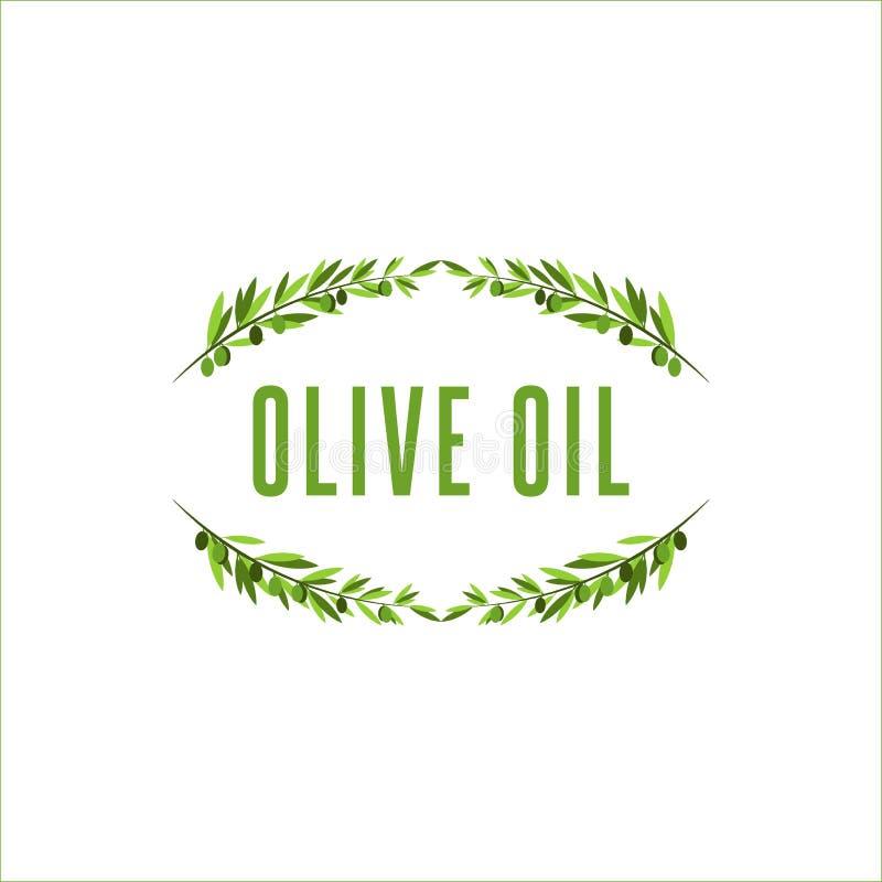 Olivgrüner Baumastrahmen mit olivgrüner Frucht, Blumenlogo für Olivenöl oder Kosmetik in einer hoch entwickelten Art lizenzfreie abbildung