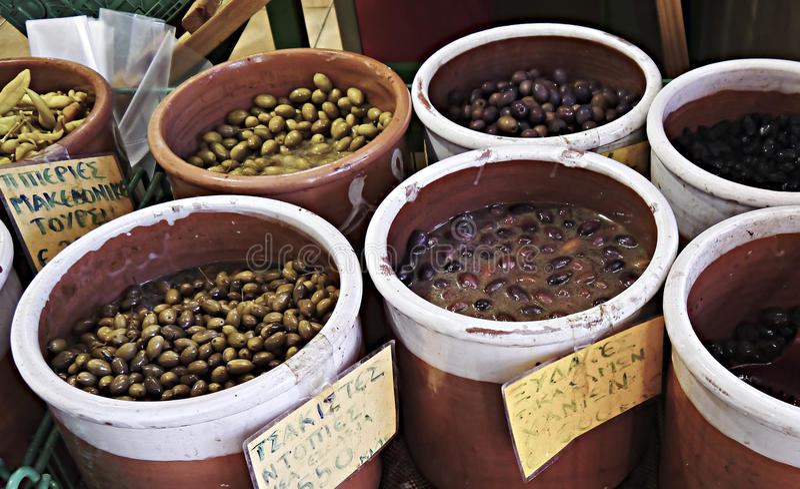 Olivgrüner Stall, Chania-Markt lizenzfreie stockfotografie