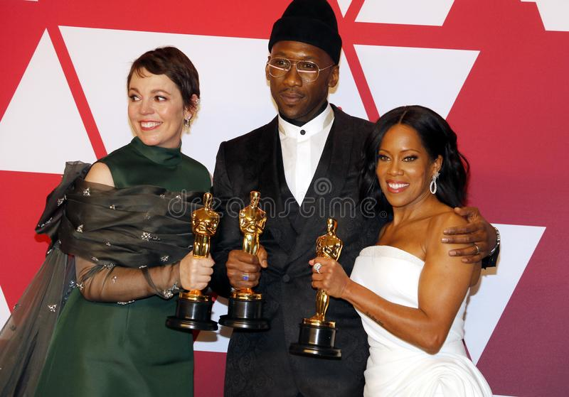 Olivia Colman, Mahershala Ali and Regina King. At the 91st Annual Academy Awards - Winners Room held at the Hollywood and Highland in Los Angeles, USA on stock images