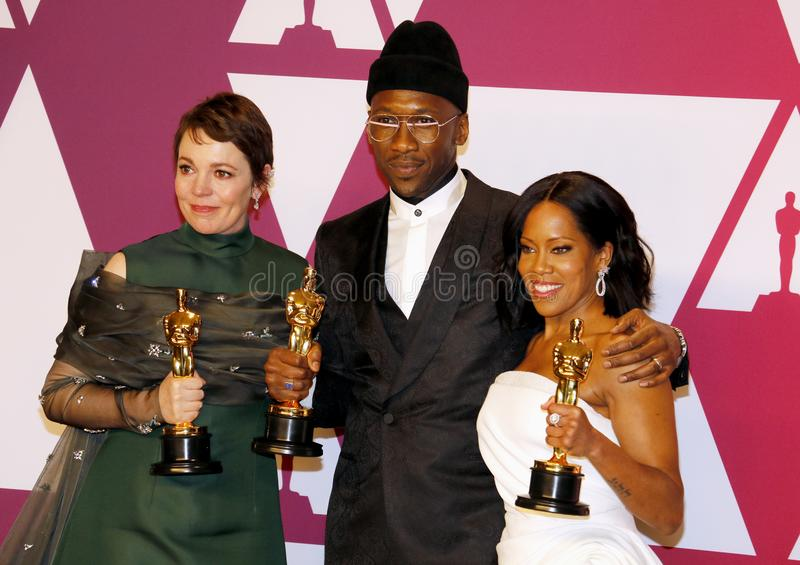 Olivia Colman, Mahershala Ali and Regina King. At the 91st Annual Academy Awards - Winners Room held at the Hollywood and Highland in Los Angeles, USA on stock photography
