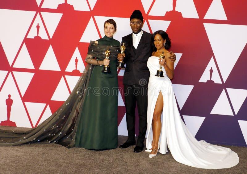 Olivia Colman, Regina King en Mahershala Ali royalty-vrije stock fotografie