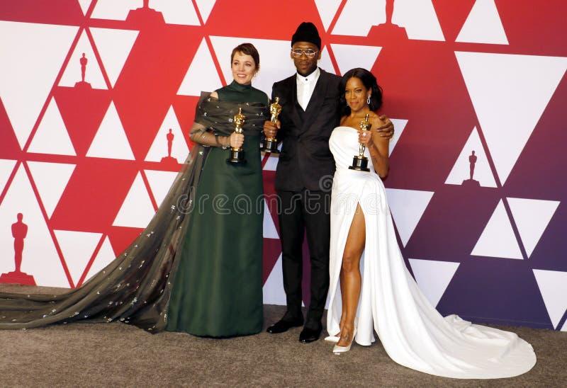 Olivia Colman, Regina King en Mahershala Ali stock afbeelding
