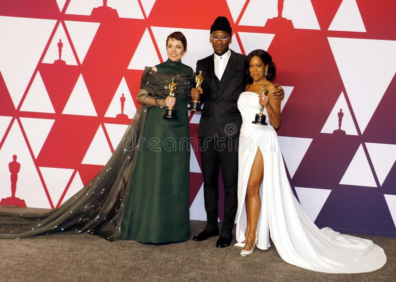 Olivia Colman, Regina King and Mahershala Ali. At the 91st Annual Academy Awards - Press Room held at the Loews Hotel in Hollywood, USA on February 24, 2019 royalty free stock image