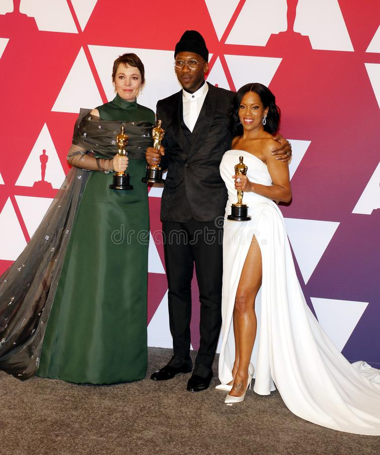 Olivia Colman, Regina King and Mahershala Ali. At the 91st Annual Academy Awards - Press Room held at the Loews Hotel in Hollywood, USA on February 24, 2019 royalty free stock photos