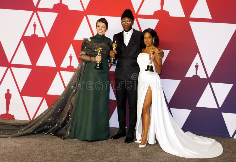 Olivia Colman, Regina King and Mahershala Ali. At the 91st Annual Academy Awards - Press Room held at the Loews Hotel in Hollywood, USA on February 24, 2019 stock image