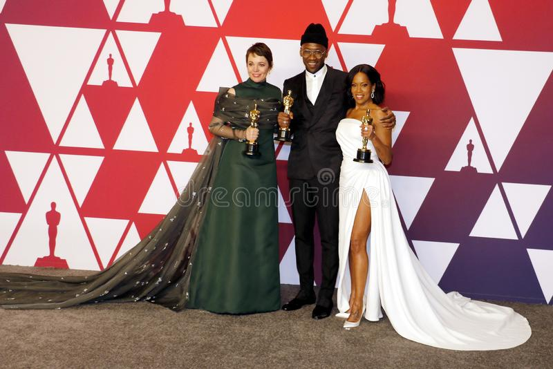 Olivia Colman, Regina King and Mahershala Ali. At the 91st Annual Academy Awards - Press Room held at the Loews Hotel in Hollywood, USA on February 24, 2019 stock photos