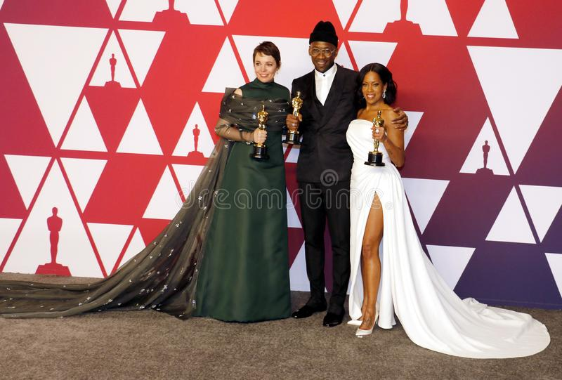 Olivia Colman, Regina King and Mahershala Ali. At the 91st Annual Academy Awards - Press Room held at the Loews Hotel in Hollywood, USA on February 24, 2019 royalty free stock photo