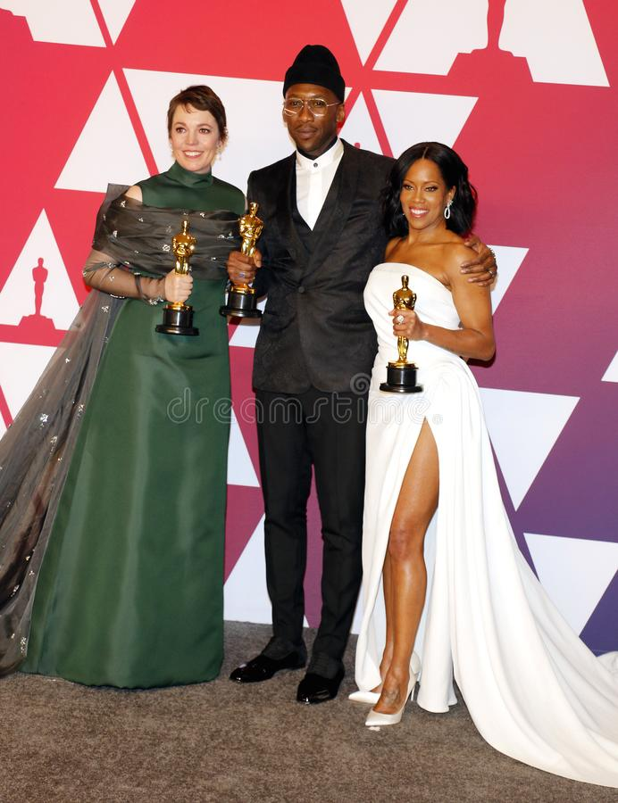 Olivia Colman, Regina King and Mahershala Ali. At the 91st Annual Academy Awards - Winners Room held at the Hollywood and Highland in Los Angeles, USA on royalty free stock images