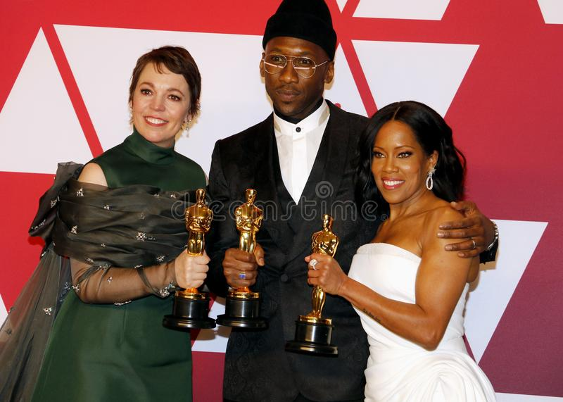 Olivia Colman, Regina King and Mahershala Ali. At the 91st Annual Academy Awards - Winners Room held at the Hollywood and Highland in Los Angeles, USA on stock photography