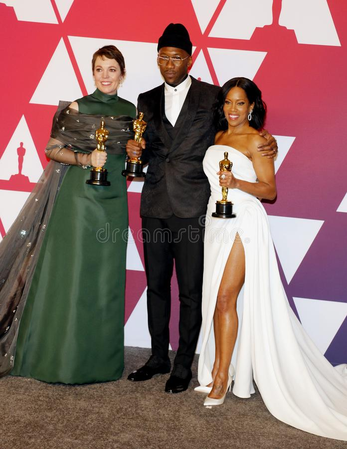 Olivia Colman, Regina King and Mahershala Ali. At the 91st Annual Academy Awards - Winners Room held at the Hollywood and Highland in Los Angeles, USA on stock photo