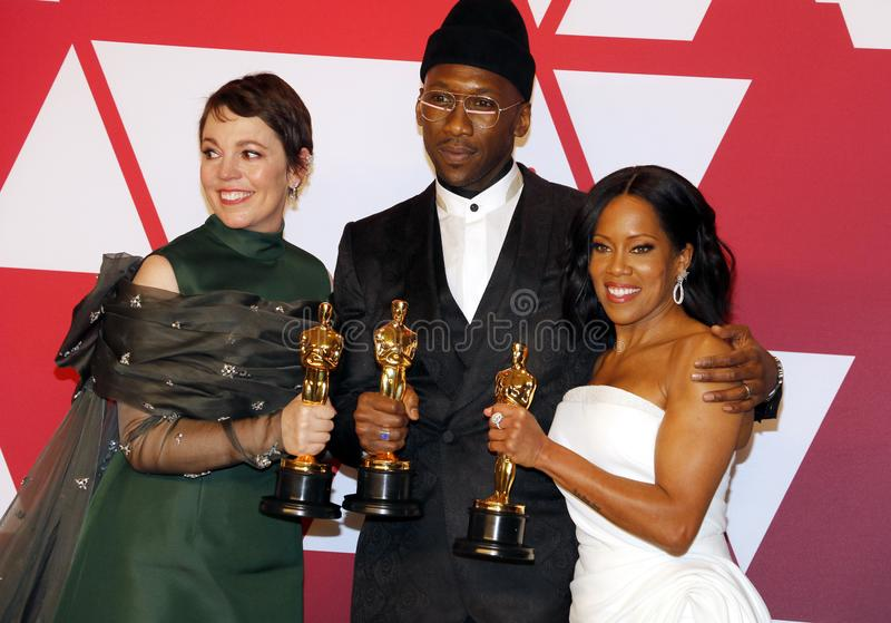 Olivia Colman, Regina King, Mahershala Ali. Olivia Colman, Regina King and Mahershala Ali at the 91st Annual Academy Awards - Winners Room held at the Hollywood royalty free stock image