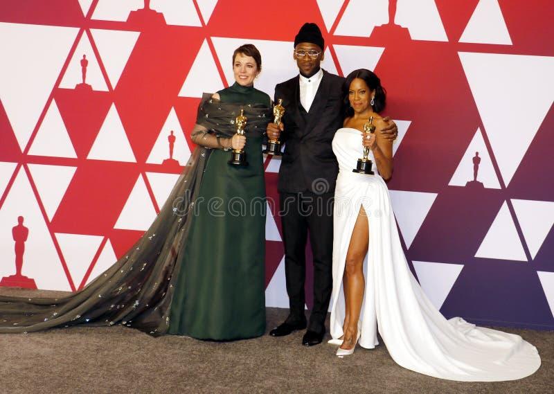Olivia Colman, Regina King och Mahershala Ali royaltyfri bild