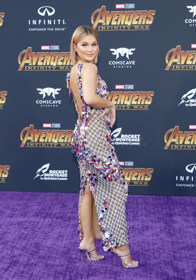 Olivia Holt. At the premiere of Disney and Marvel`s `Avengers: Infinity War` held at the El Capitan Theatre in Hollywood, USA on April 23, 2018 royalty free stock photo