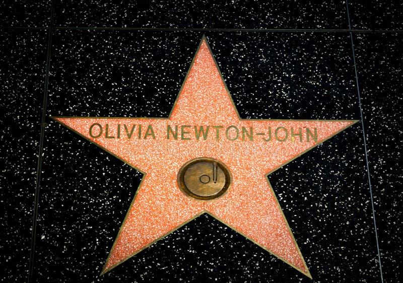 Olivia Newton-John Star op de Hollywood-Gang van Bekendheid royalty-vrije stock afbeelding