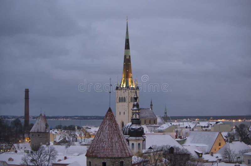 Oliviste-Kirche im Winter Tallinn stockbilder