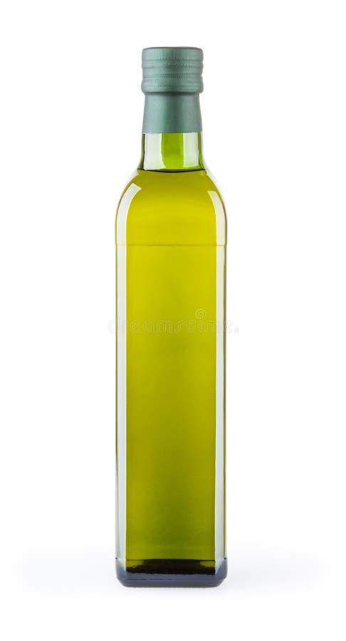 Olivolja i glasflaskan som isoleras på vit bakgrund arkivbilder