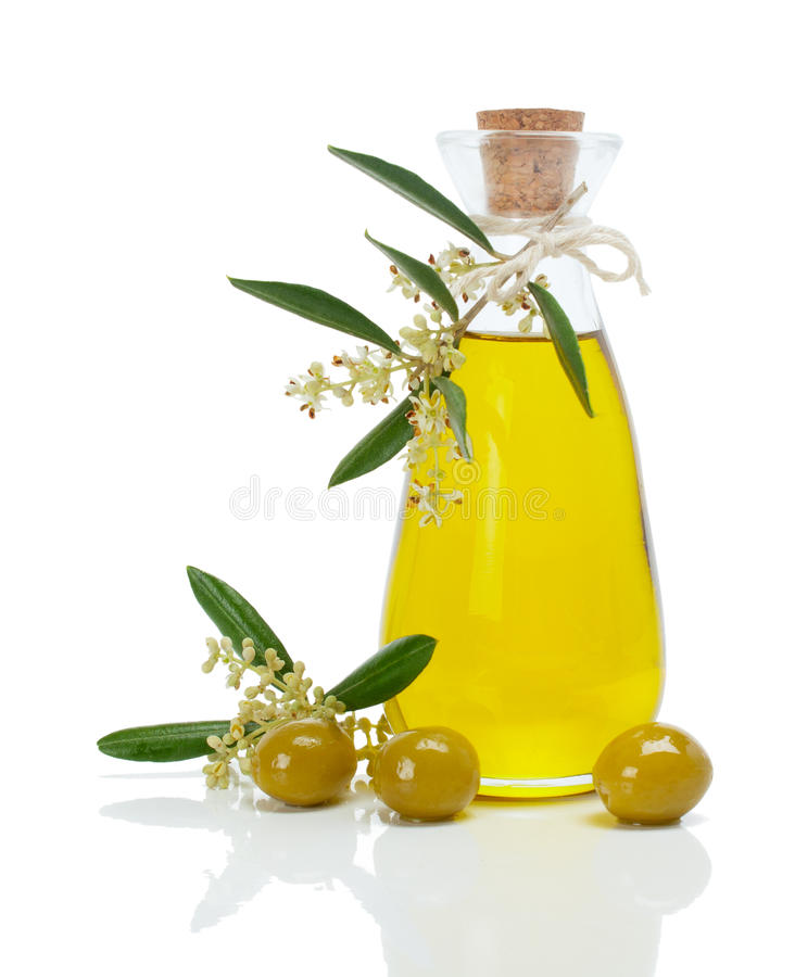 Olivolja och blomning royaltyfria bilder