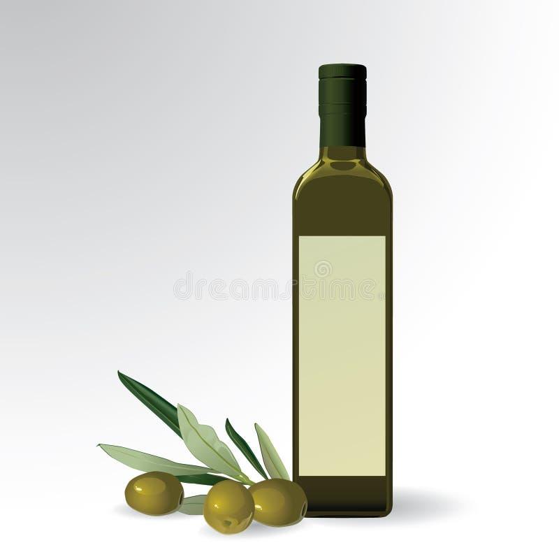 Olivoljaflaska stock illustrationer