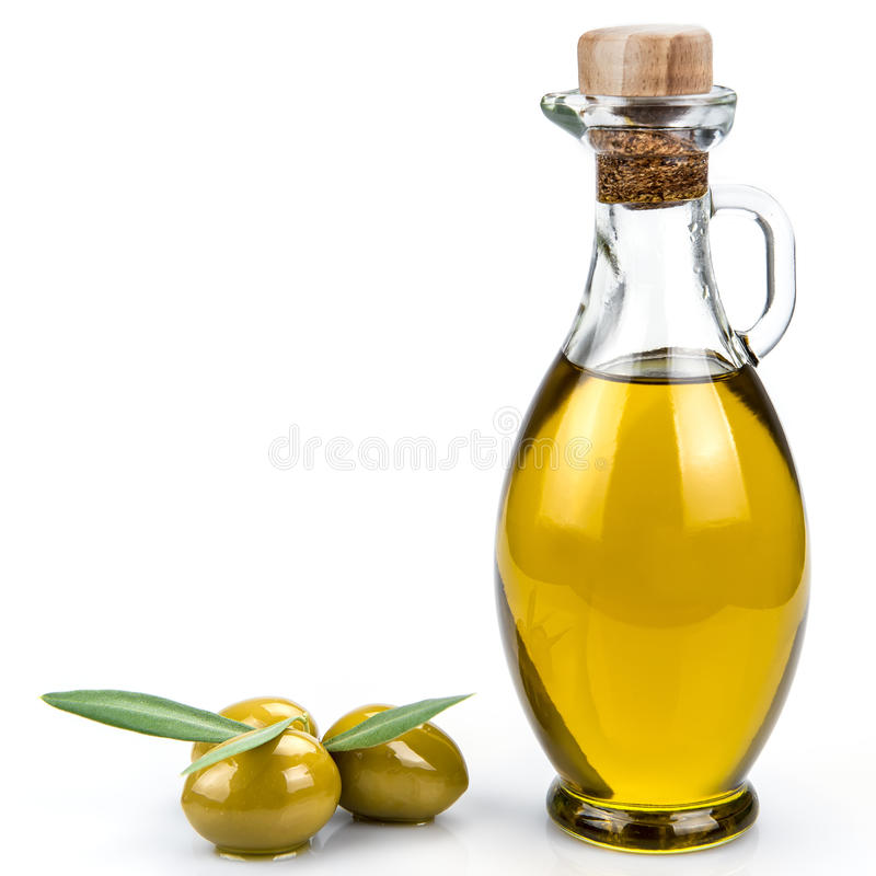 Olivoljaflaska på en vit bakgrund. fotografering för bildbyråer