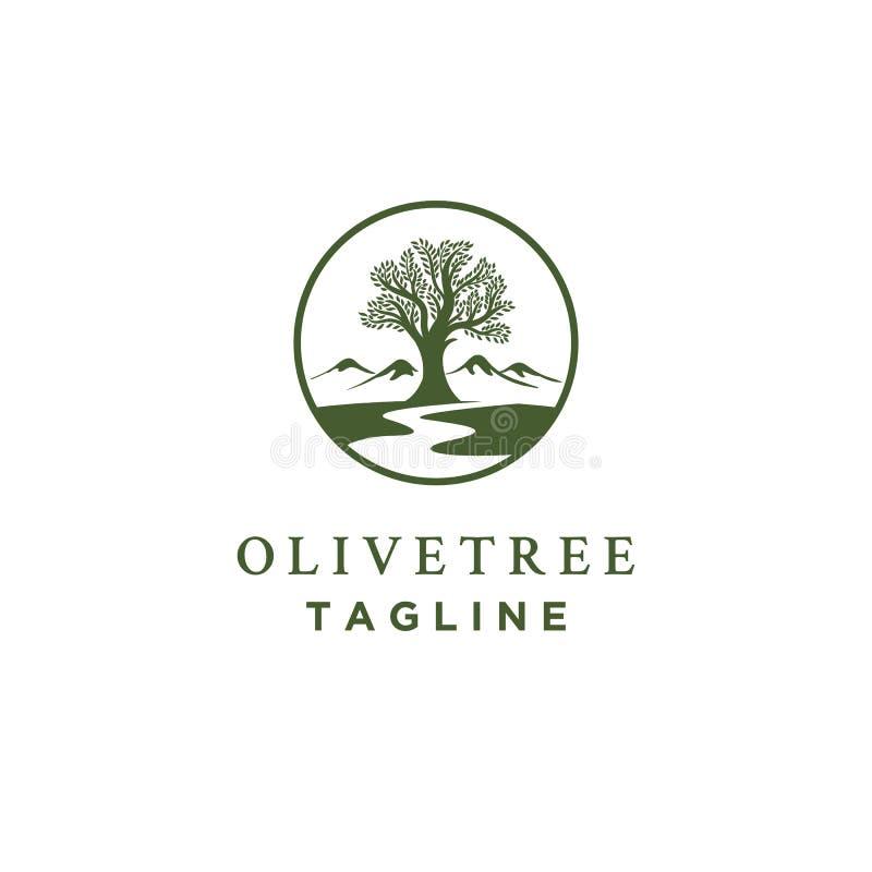Olivträdlogodesigner med små viker eller flodsymbol vektor illustrationer