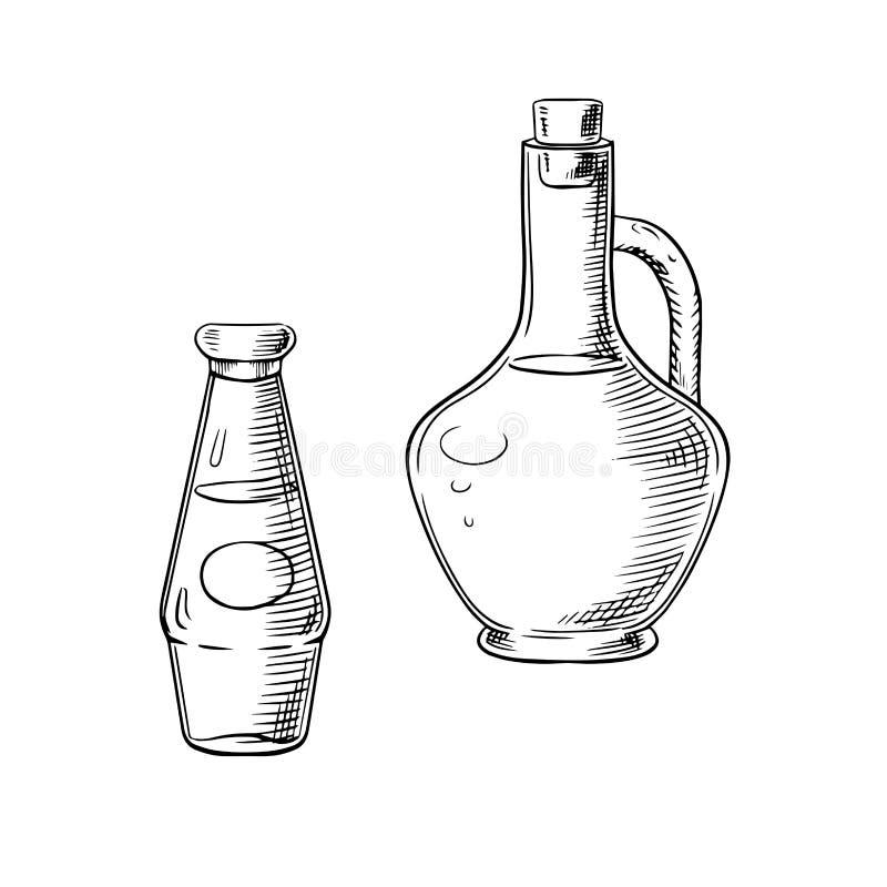 Oliwa z oliwek i pomidorowy kumberland w szklanych butelkach ilustracja wektor