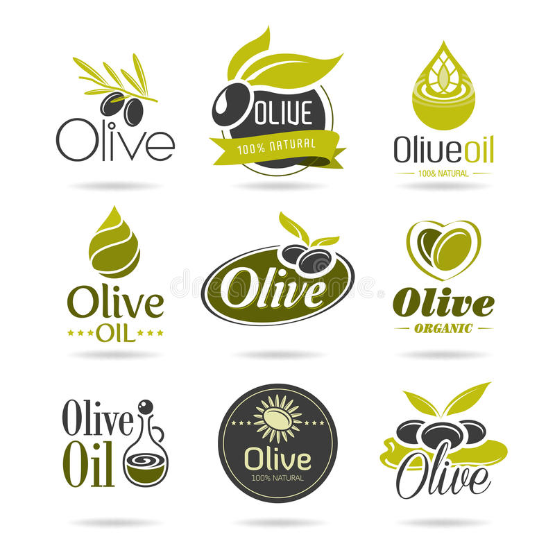 Oliwa z oliwek ikony set royalty ilustracja