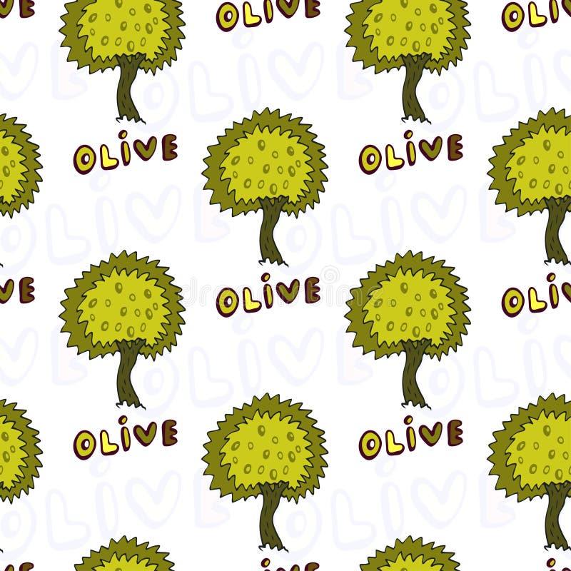 Oliwek drzew bezszwowy wzór Wektorowy Doodle tło royalty ilustracja