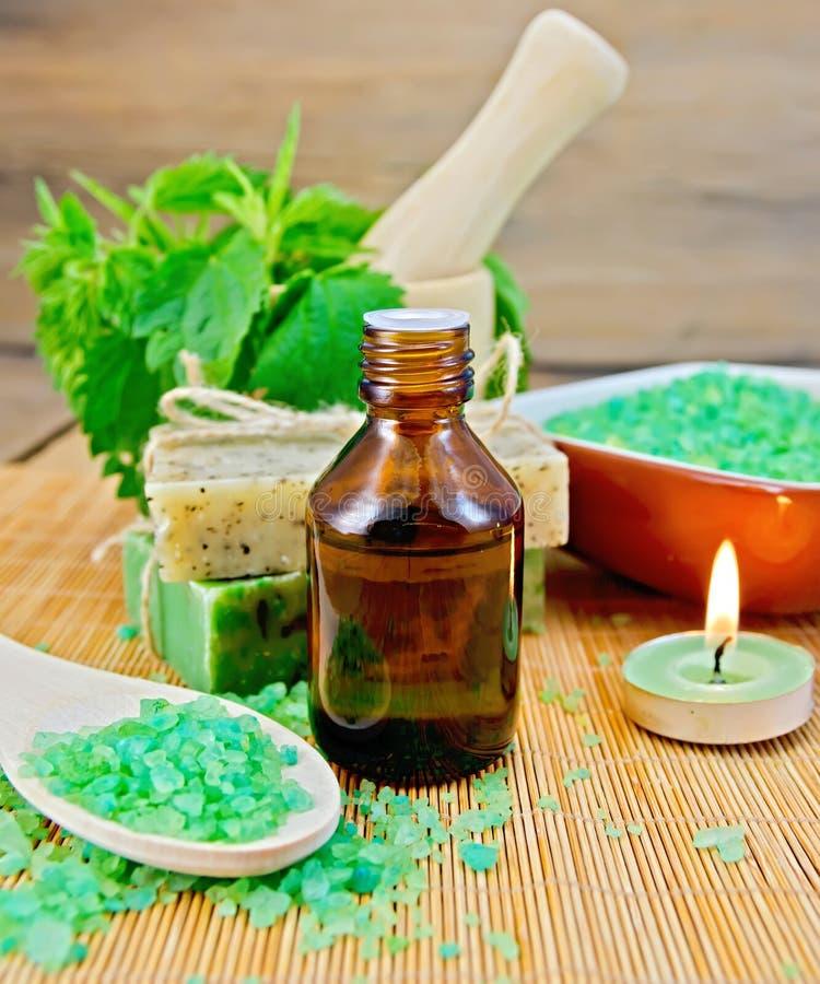 Oliwi i soli z pokrzywami w moździerzu na pokładzie fotografia royalty free