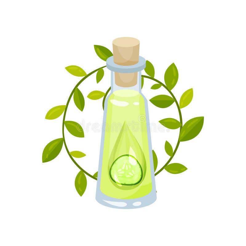 Oliwi i zielenieje liście plasterek ogórek w szklanej butelce z korkowym deklem Naturalny skóry opieki kosmetyk Płaska wektorowa  ilustracja wektor