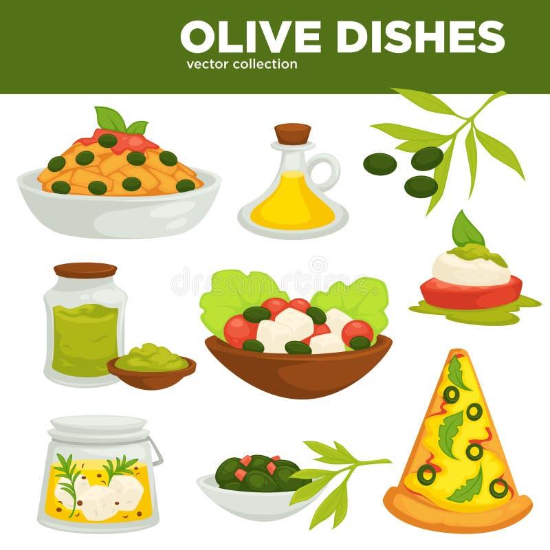 Oliwka rozdaje wektorowego jedzenie, olej i sałatki, ilustracja wektor