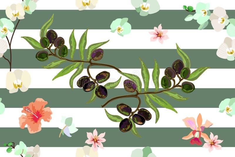 Oliwki i kwiaty ilustracja wektor