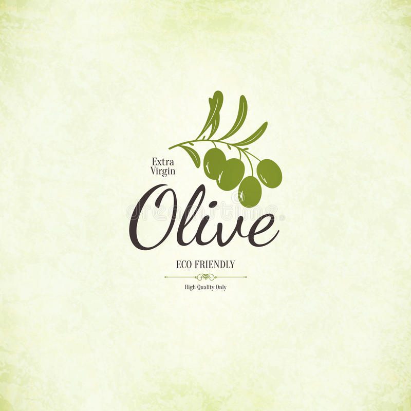 Oliwna etykietka, loga projekt royalty ilustracja
