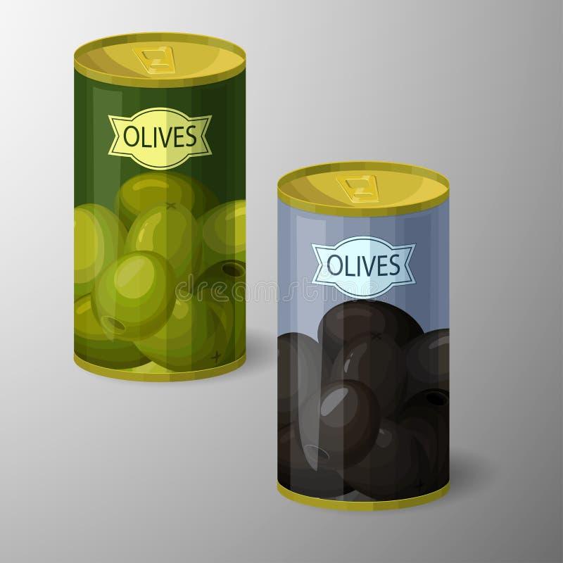 Oliwne puszki zakonserwowany towary również zwrócić corel ilustracji wektora ilustracja wektor