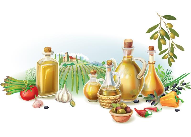 Oliwny żniwo przeciw krajobrazowi ilustracja wektor