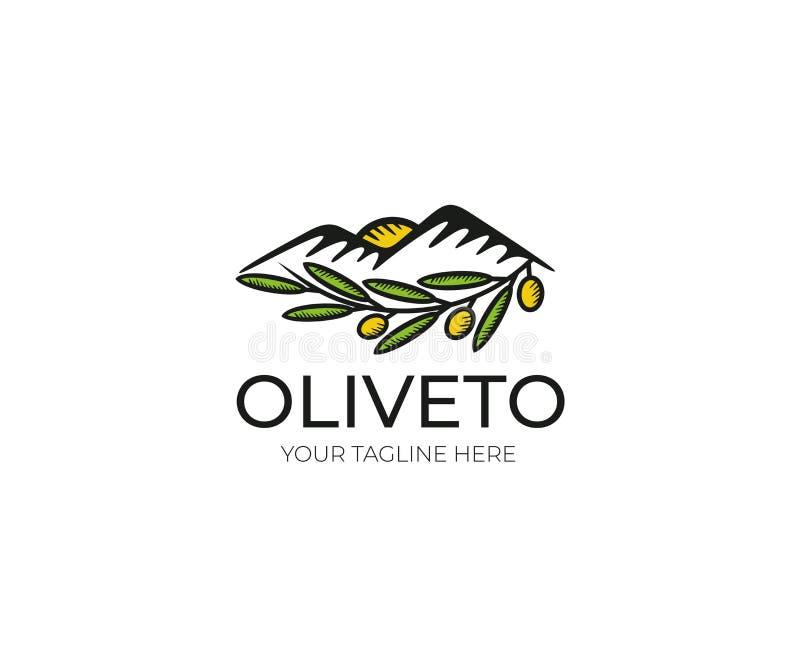 Oliwny loga szablon Oliwnego gaju Wektorowy projekt ilustracji