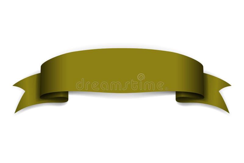Oliwny tasiemkowy sztandar Atłasowy glansowany łęku puste miejsce Projektuje etykietki ślimacznicy faborku pustego element odizol ilustracji