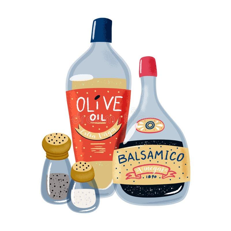 Oliwy z oliwek, balsamic octu, soli i pieprzu set, ilustracja wektor