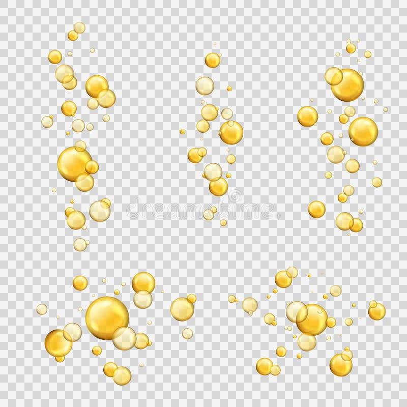 Olja bubblar Skinande oljadroppar, kosmetisk guld- serum för pillerkapselcollagen Oljiga vitaminextraktsmå droppar Flyga guling stock illustrationer