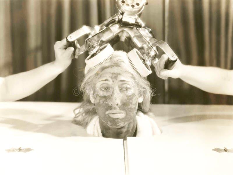 olja för badskönhetsammansättning soaps behandling arkivfoto