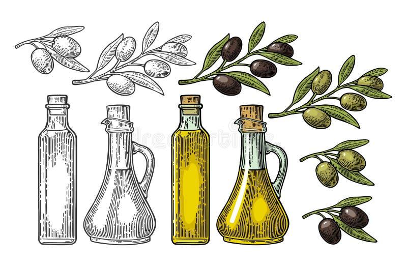 Olja för flaskexponeringsglas med korkproppen och filialoliv med sidor royaltyfri illustrationer