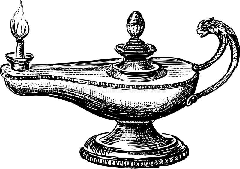 Olja lampan vektor illustrationer