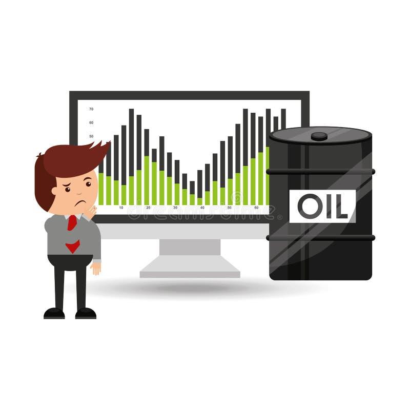 Olja- och oljabransch oroade affärsmanprisnedgångar stock illustrationer