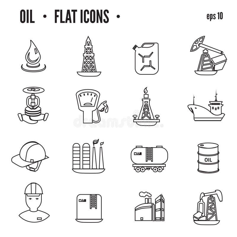 Olja- och oljasymbolsuppsättningen, lägenhet isolerade vektorillustrationen stock illustrationer