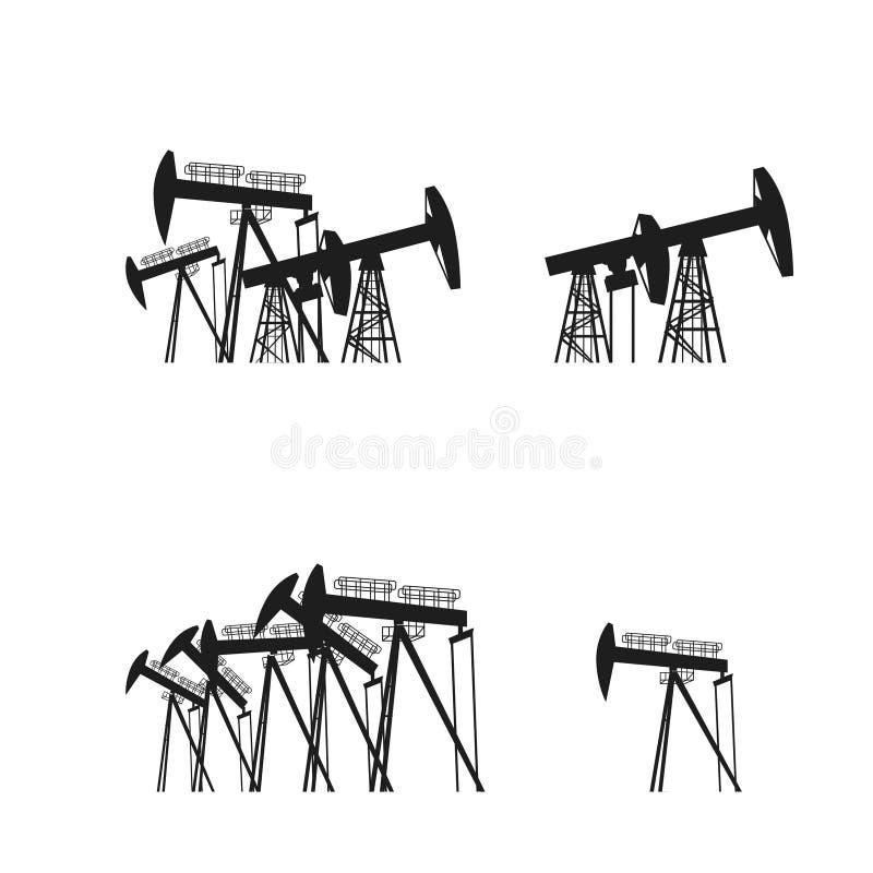 Olja - producera riggsilouette Svart pictogram på vit bakgrund också vektor för coreldrawillustration royaltyfri illustrationer
