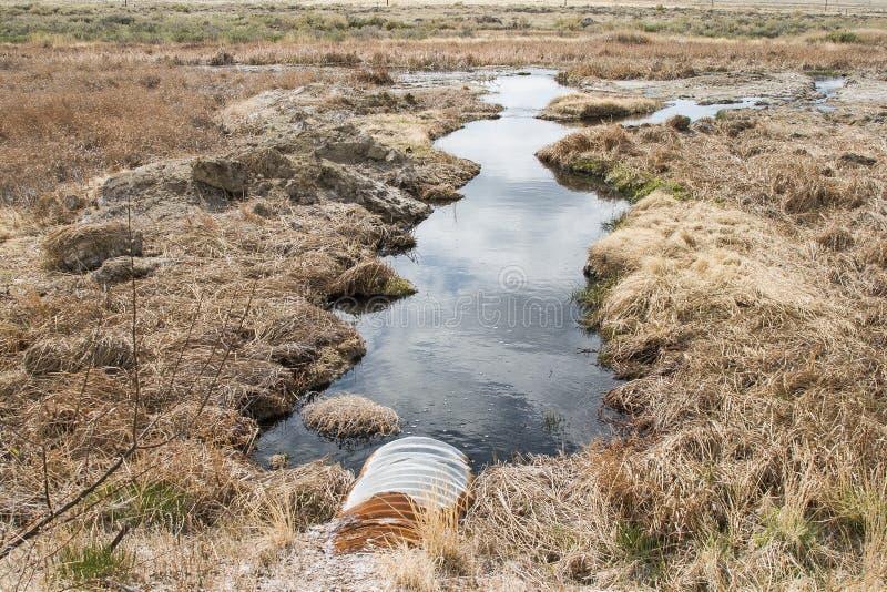 Olja producerat vatten förorenar miljön arkivfoto