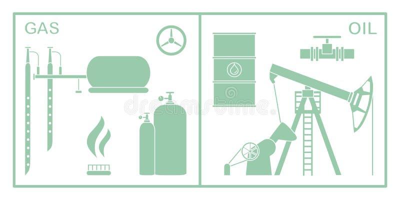 Olja utrustning f?r gasbransch Extraktion lagring stock illustrationer