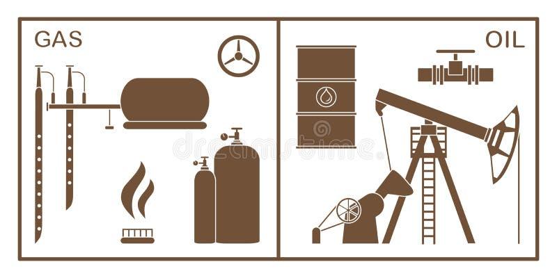 Olja utrustning f?r gasbransch Extraktion lagring royaltyfri illustrationer
