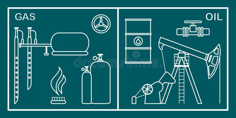 Olja utrustning f?r gasbransch Extraktion lagring vektor illustrationer