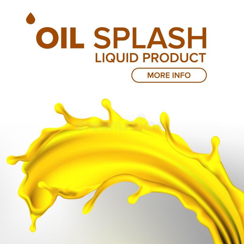 Oljafärgstänkvektor Vätskedroppe Guld- liten droppe Oliv flöde Bränslevåg Gas Collagen realistisk isolerad illustration 3D vektor illustrationer